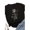 Cool Girls Rolled Short Sleeve Round Neck Letter SOME SEE A WEED SOME SEE A WISH Dandelion Graphic Slim Fit T Shirt