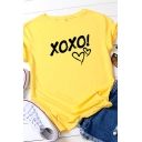 Fancy Girls Rolled Short Sleeve Crew Neck Letter XOXO Heart Graphic Regular Fitted Tee Top