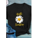 Fancy Girls Roll Up Sleeve Crew Neck Letter HELLO SUNSHINE Daisy Graphic Loose Fit T Shirt