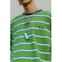 Fashionable Mens Short Sleeve Round Neck Letter Panel Striped Relaxed Fit T Shirt
