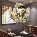 Countryside Flower Globe Ceiling Pendant Single-Bulb Iron Suspended Lighting Fixture in White/Pink