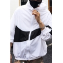 Chic White and Black Long Sleeve Zipper Front Colorblocked Elastic Hem Sun Protection Windbreaker Elastic Hem Relaxed Jacket