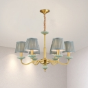 3/6 Heads Chandelier Traditional Curved Arm Metal Pendant Light in Brass with Cone Light Blue Fabric Shade