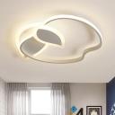 Acrylic Apple Frame Ceiling Mounted Light Cartoon LED Flushmount Lamp in White/Black/Pink for Kids Bedroom
