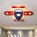 Airplane Flush Ceiling Light Cartoon Acrylic LED Bedroom Flush Mount in Red and Blue, White/Warm Light