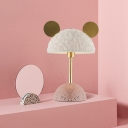 White Flurry Dome Table Light Nordic 1-Light Fabric Night Lamp with Terrazzo Base