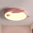 Acrylic Rabbit Shaped Ceiling Flush Cartoon LED Flushmount Lighting in Blue/Pink for Kids Bedroom