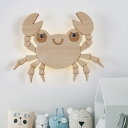 Crab Shaped Wood Flush Wall Sconce Cartoon LED Beige Wall Lighting Ideas for Bedroom