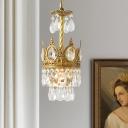 Beveled Crystal Crown Pendulum Light Traditional 1 Head Bedroom Pendant Lamp in Gold