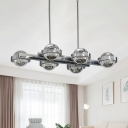 6-Head Island Pendant Light Modernist Ball Bubble Crystal Ceiling Suspension Lamp in Gold/Chrome