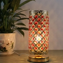 Gold Cylindrical Table Lamp Modernist Red Opulent Inlaid Crystal 1 Bulb Bedroom Night Light