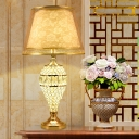 1-Head Urn Nightstand Lamp Traditional Gold Crystal Embedded Night Table Light with Cone Fabric Shade