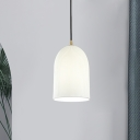 Elongated Dome Bedside Drop Pendant White Ribbed Glass 1-Light Simple Style Hanging Light