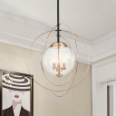 Globe Dining Room Chandelier Modern 3 Lights Clear Glass Hanging Light Kit with Interlocking Ring Guard in Gold