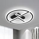 Black Ring and Dual-L Flush Lamp Simple LED Acrylic Flush Ceiling Light for Bedroom