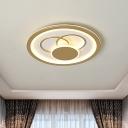 Round Ceiling Mounted Lamp Modernist Acrylic LED Gold Flush Light in Warm/White Light, 16