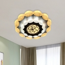 Contemporary LED Ceiling Flush White and Black Floral Flushmount Lighting with Acrylic Shade