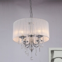 Chrome 4 Lights Chandelier Modernism Metal Candle Pendant with Drum Fabric Shade and Crystal Decor