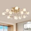 Faceted Crystal Gold Pendant Light Sputnik 13-Head Modern Chandelier Lighting Fixture