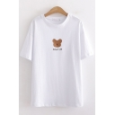 Sweet Women's Cartoon Bear Embroidery Japanese Letter Printed Short Sleeve Round Neck Fitted Graphic T-Shirt