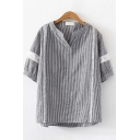 Womens Stripe Pattern Half Sleeves Stand Collar Lace Panel Loose Fit Popular Shirt Top