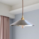 1-Bulb Down Lighting Industrial-Style Silver Finish Metallic Ceiling Hang Fixture