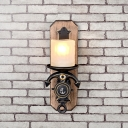 Matte Glass Pillar Wall Light Fixture Nautical 1/2-Head Dining Room Sconce Lighting with Anchor Bottom in Black