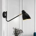 Iron Black Wall Lighting Ideas Angled Shade 1 Head Industrial Sconce Light with Adjustable Joint