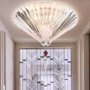 3/4-Bulb Flush Light Modern Cone Clear Prismatic Crystal Flush Mount Recessed Lighting