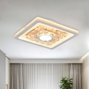 White Square Ceiling Fixture Modern Style Acrylic LED Corridor Flush Mount Lamp with Crystal Decor