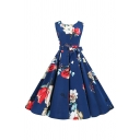 Retro Womens Navy All over Flower Printed Bow Tie Waist Sleeveless Round Neck Mid Pleated Flared Dress