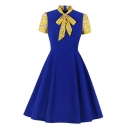Ladies Daily Floral Checker Printed Panel Short Sleeve Bow Tied Neck Elegant Midi Pleated Flared Dress