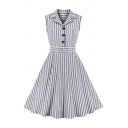 Gray Stripe Pattern Sleeveless Lapel Neck Button up Belted Popular Mid Pleated Swing Shirt Dress for Girls