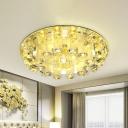 Yellow Round Ceiling Flush Mount Simple Crystal LED Balcony Flush Light in Warm/White Light