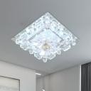 Square Clear Crystal Ceiling Flush Modern LED Entry Flush Mount Spotlight in Warm/White Light