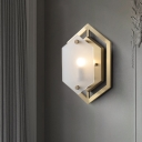 Brass Finish Hexagon Wall Sconce Light Postmodern 1 Bulb Metallic Wall Mount with Translucent Glass Shade