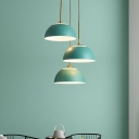 Macaron 3-Head Cluster Pendant Light White/Pink/Green Finish Dome Ceiling Suspension Lamp with Iron Shade over Table