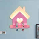 Cartoon House Sconce Lighting Iron LED Girls Room Wall Mounted Lamp in Pink with Loving Heart Shape, White/3 Color Light