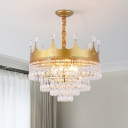 Kids Crown Shaped Ceiling Chandelier Metallic 2/4/6 Heads Bedroom Suspension Pendant in Gold with Crystal Droplet Deco