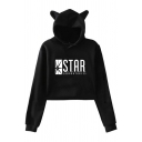 Leisure Womens Long Sleeve Letter STAR Graphic Relaxed Crop Ears Hoodie