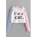 Exclusive Womens Long Sleeve Drawstring Letter I'M A CAT Colorblock Relaxed Crop Hoodie