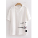 Preppy Girls Short Sleeve Crew Neck Paw Embroidery Relaxed Fit T-Shirt