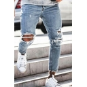 Popular Guys Light Blue Mid Rise Distressed Raw Edge Bleach Ankle Slim Fitted Jeans