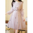 Amazing Gorgeous Ladies Long Sleeve Round Neck Stringy Selvedge Flower Patched Sheer Mesh Midi Pleated A-Line Dress