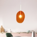 Lollipop Shape Coffee House Hanging Light Kit Orange Glass 1-Light Minimalist Pendant Lamp