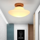 1 Head Corridor Flush Ceiling Light Modern Gold Flushmount Lamp with Mushroom Milk White Glass Shade