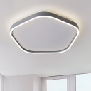 Minimalist LED Flush Mount Fixture Grey Pentagon Ceiling Lighting with Acrylic Shade in Warm/White Light, 16