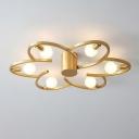 Flower Metallic Semi Flush Mount Lighting Modern 5/6-Head Gold Finish Ceiling Lamp Fixture