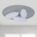 3/5 Heads Living Room Flush Mount Modernist White Ceiling Mounted Light with Oval Frosted Glass Shade