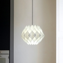 Single Head Restaurant Hanging Light Fixture White Suspension Pendant with Snowball Acrylic Shade